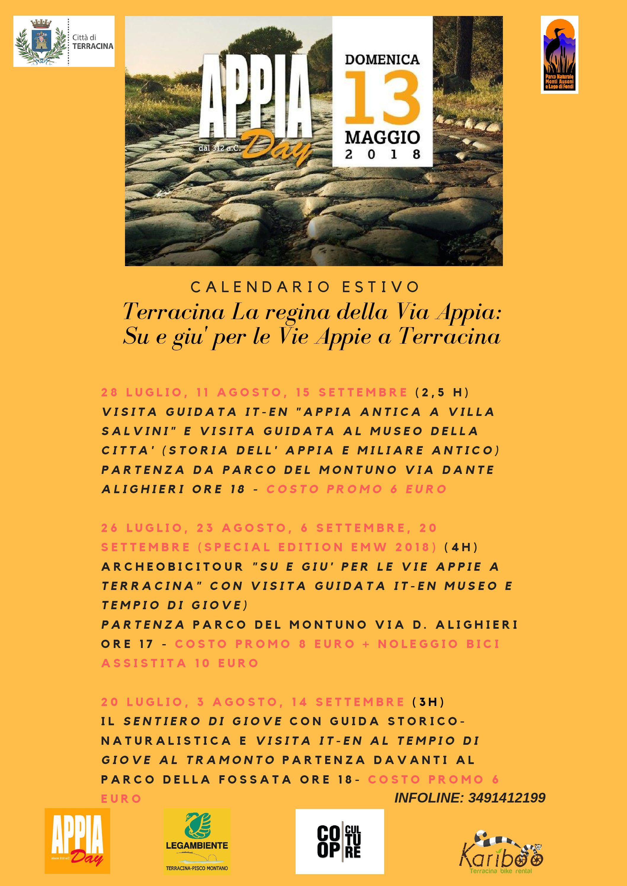 """Terracina. Promozione marchio """"Appia Day"""":gli eventi in programma"""